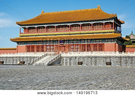 Traditional Chinese Building, Forbidden City in Beijing - China, clear sunny day