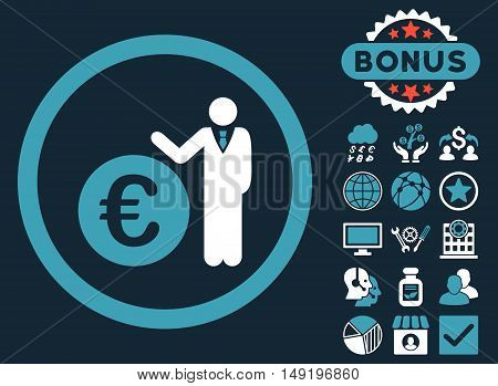 Euro Economist icon with bonus design elements. Vector illustration style is flat iconic bicolor symbols blue and white colors dark blue background.