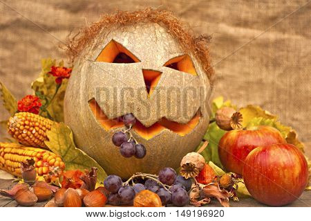 Autumn still-life with large group of products like apple pumpkin corn hazelnut poppy grapes and more