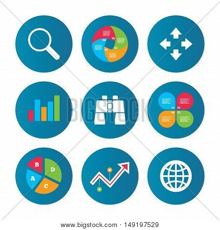 Business pie chart. Growth curve. Presentation buttons. Magnifier glass and globe search icons. Fullscreen arrows and binocular search sign symbols. Data analysis. Vector