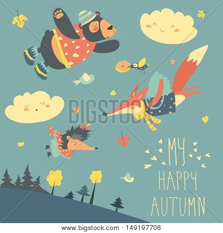 Cute animals and autumn leaves flying in the sky. Vector illustration
