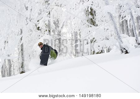 Snowboarder doing a fast freeride in forest