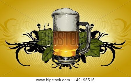 beer mug on decorative background in retro style