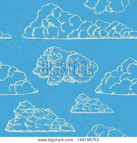 Clouds on Sky Hand Draw Sketch. Vintage Style Design. Background Pattern. Vector illustration