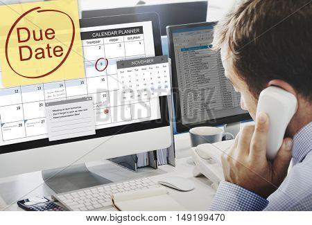 Due Date Deadline Payment Bill Important Notice Concept