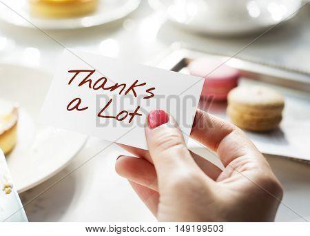 Thanks Lot Word Grateful Handwritten Concept