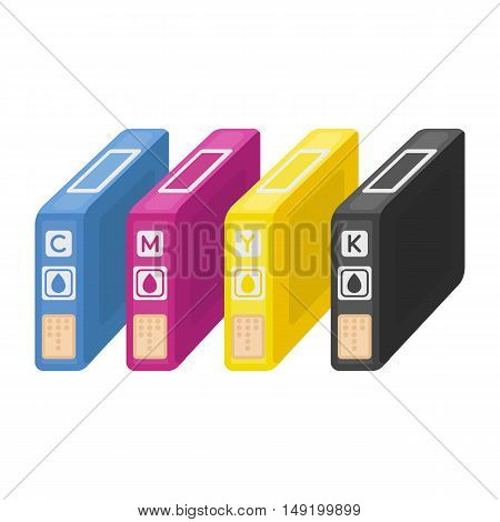 Ink cartridges in cartoon style isolated on white background. Typography symbol vector illustration.