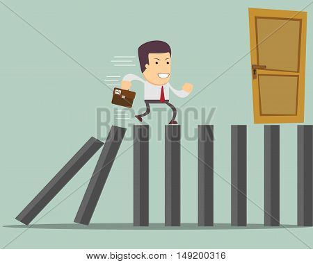 Man Run to Exit . Stock vector illustration