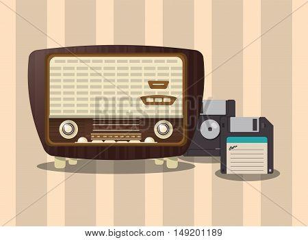 flat design retro radio with floppy disk image vector illustration