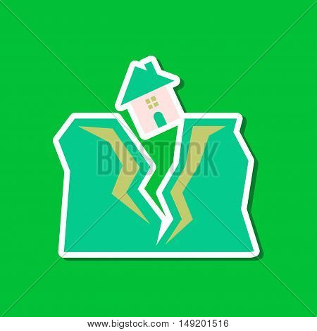 paper sticker on stylish background house earthquake