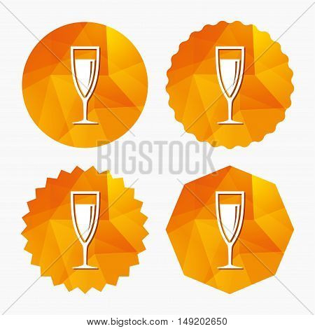 Glass of champagne sign icon. Sparkling wine. Celebration or banquet alcohol drink symbol. Triangular low poly buttons with flat icon. Vector