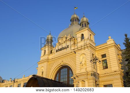 Lviv the main railway terminal in Lviv Ukraine. It is one of the most notable pieces of Art Nouveau architecture in former Galicia. The station was opened to the public in 1904.