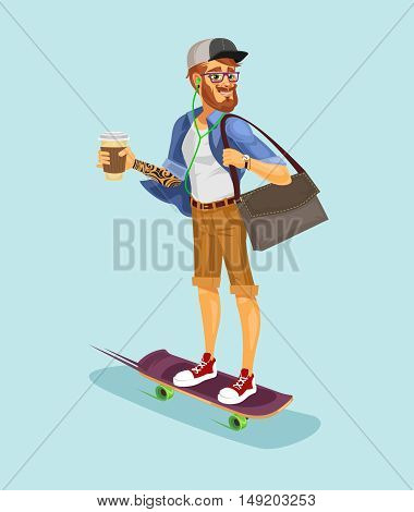 Vector illustration of a cool hipster riding a skateboard and drinking coffee