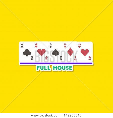 paper sticker on stylish background of poker full house