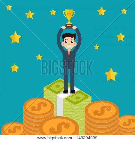 Winner Businessman character hold reward vector illustration