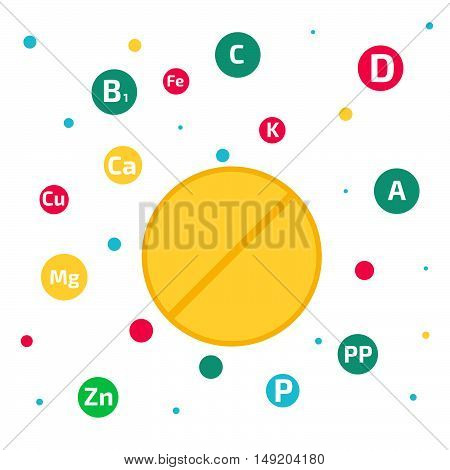 Vitamins and minerals background vector illustration stock