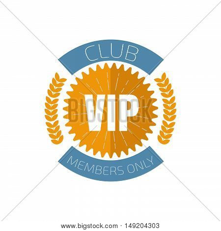 VIP club logo in flat style. Stock vector. Vector illustration.