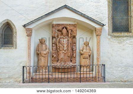 Ancient religious Keutschach monument in St George church. Salzburg fortress Hohensalzburg Austria.