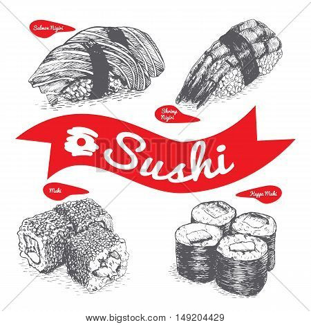 Illustration of various sort of sushi and nigiri. Monochrome illustration of sushi and nigiri