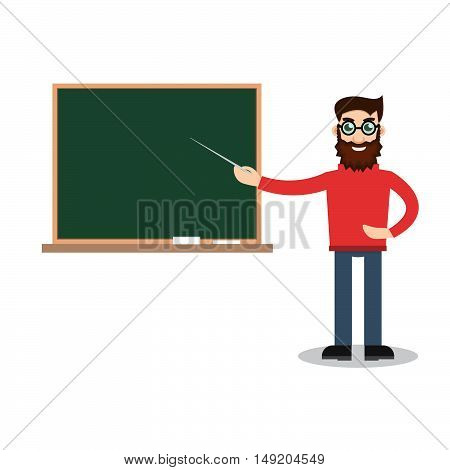 Teacher man on lesson. Stock vector. Vector illustration.