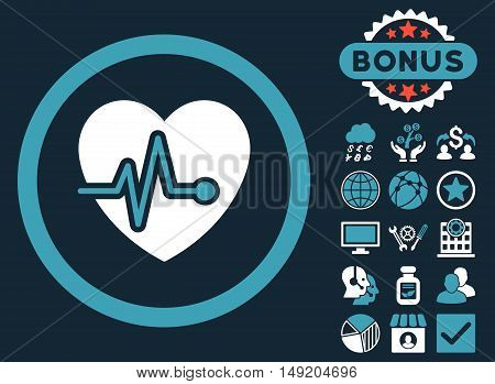 Heart Pulse icon with bonus elements. Vector illustration style is flat iconic bicolor symbols blue and white colors dark blue background.