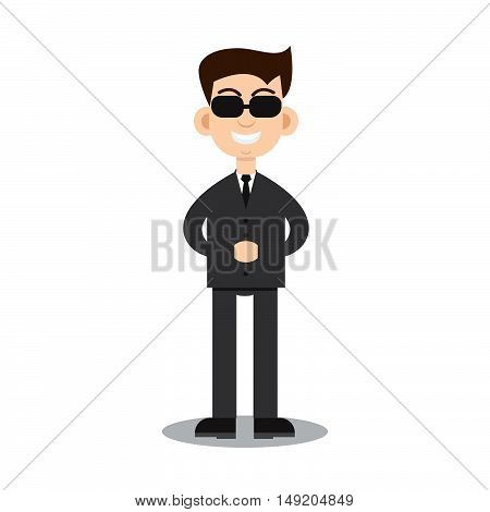 Secret service agent. Stock vector. Vector illustration.