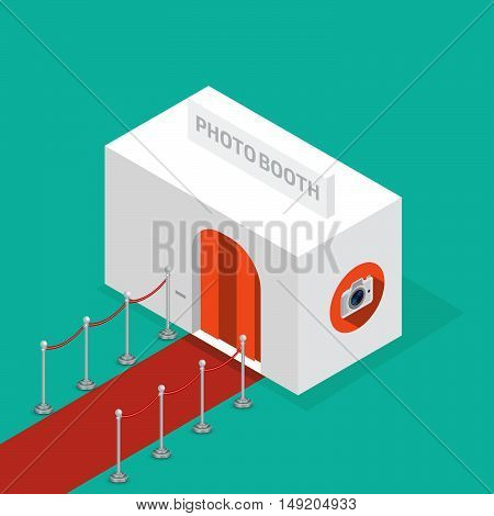 Photo booth isometric. Stock vector. Vector illustration.