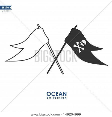 pirate flag with skull and crossbones and white flag, vector illustration isolated on white