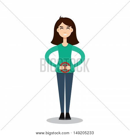 Menstrual pain character girl. Stock vector. Vector illustration.