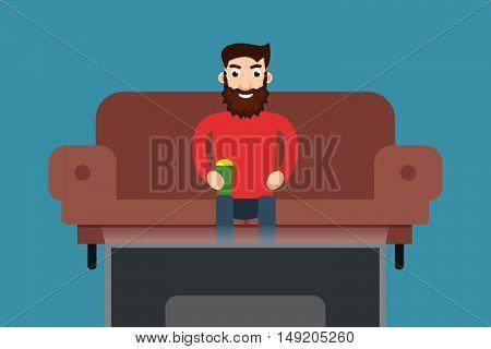 Man watching TV. Stock vector. Vector illustration.