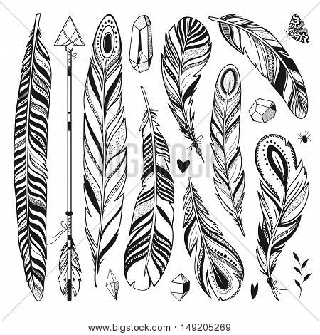 feathers, crystals, arrow, butterfly and other hand drawn elements isolated on white, magical and beautiful vector set, boho style illustration
