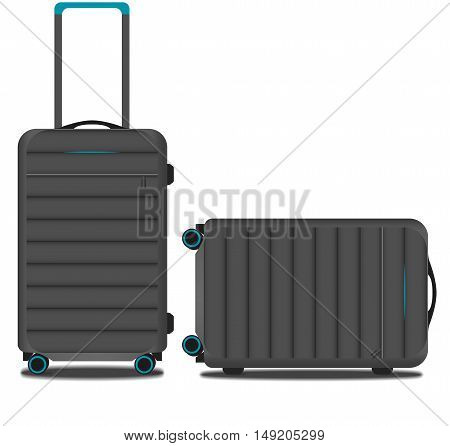 gray striped suitcase with a GPS system and blue backlight