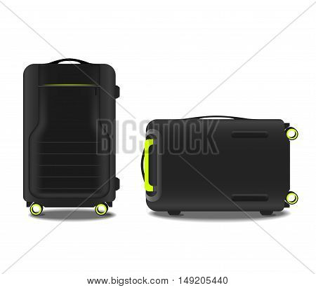 two suitcases with a GPS system and an acid green backlight