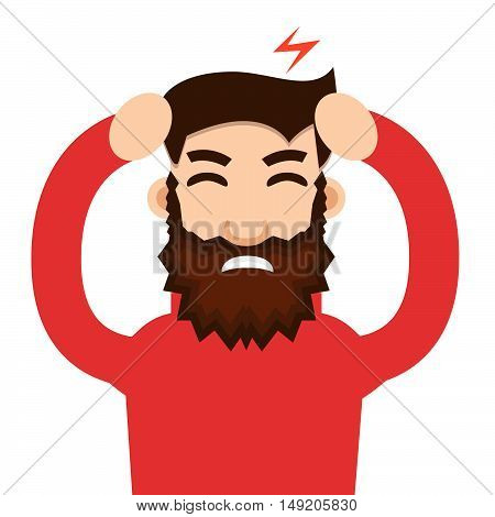 Headache attack. Head pain vector illustration. Stock vector.