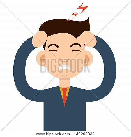 Headache attack. Head pain vector illustration. Vector illustration. Stock vector.
