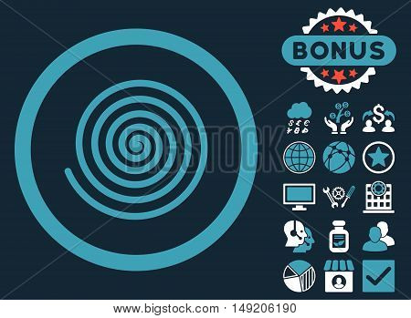 Hypnosis icon with bonus pictures. Vector illustration style is flat iconic bicolor symbols blue and white colors dark blue background.
