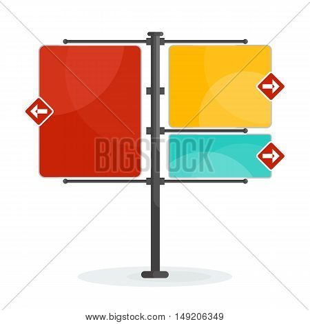 Vector street sign. Blank signs pointing in opposite directions. Traffic sign isolated. Flat cartoon road sign illustration. Objects isolated on white background.