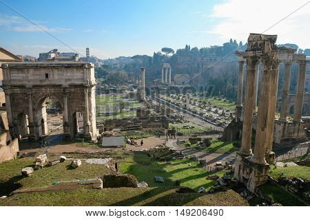 Ancient Roman Forum In Rome