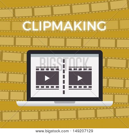 Concept of Movie making work moment. yellow background with film footage.video flat design