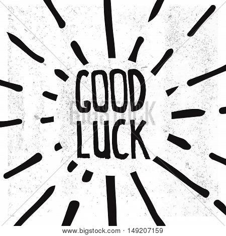 Good Luck Lettering. Hand Draw lettering. Vector illustration. Stock vector.