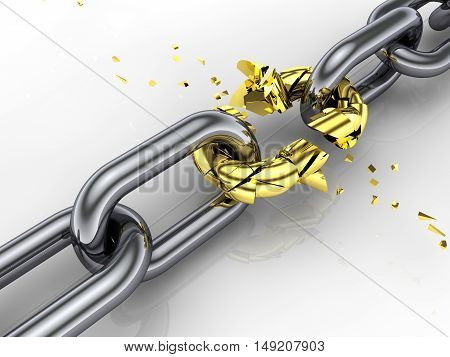 3d chain weakest link breaking free  , Teamwork , 3d illustration