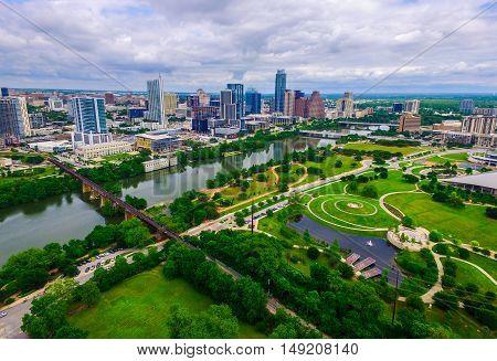 Aerial Summer Green Paradise Texas Hill Country Capital City Austin Texas Skyline Cityscape over Butler Park