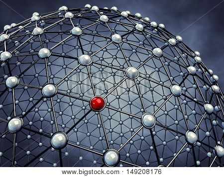 Model of a global network , Server nodes , 3d illustration