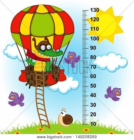 balloon height measure(in original proportions 1 to 4) - vector illustration, eps