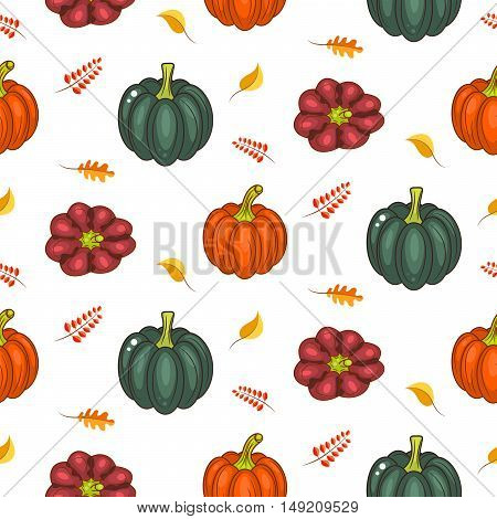 Autumn harvest seamless vector pattern. Acorn green pumpkins squash and faded leaves repeat white background.