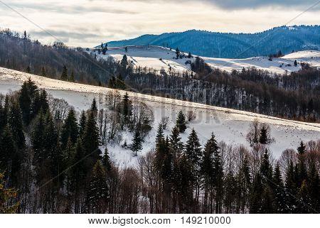 Mountainous Area On Winter Morning
