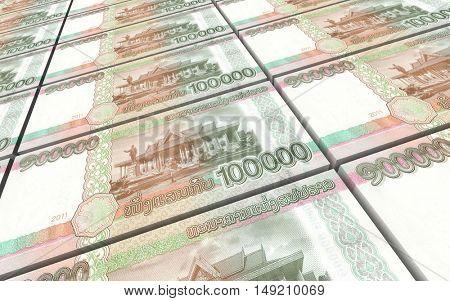 Laotian kip bills stacks background. 3D illustration.