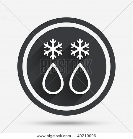 Defrosting sign icon. From ice to water symbol. Circle flat button with shadow and border. Vector