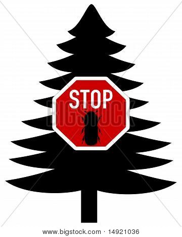 Detailed and colorful illustration of bark-beetle stop sign poster