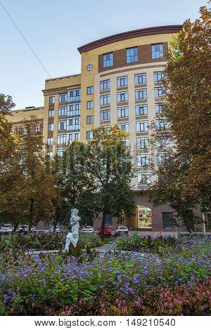 BELGOROD RUSSIA - SEPTEMBER 10 2016: Holy Trinity Boulevard in Belgorod Russia. Oldest sculpture fountain